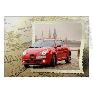 Mapa com carro cartão