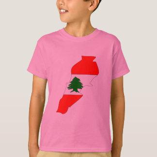 Mapa da bandeira de Líbano T-shirts
