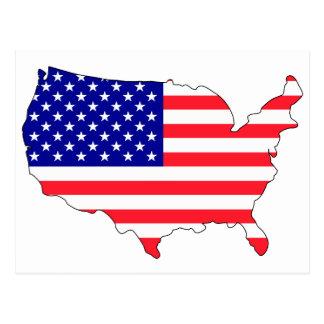 Mapa da bandeira dos EUA Cartoes Postais