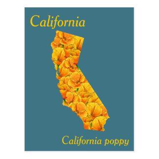 Mapa da colagem da flor de estado de Califórnia Cartão Postal