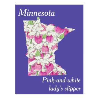 Mapa da colagem da flor de estado de Minnesota Cartão Postal