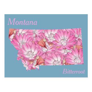 Mapa da colagem da flor de estado de Montana Cartão Postal