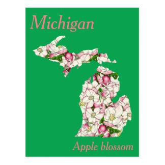 Mapa da colagem da flor de estado do Michigan Cartão Postal