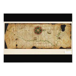 Mapa da Costa do Pacífico da carta de Portolan Convite 12.7 X 17.78cm