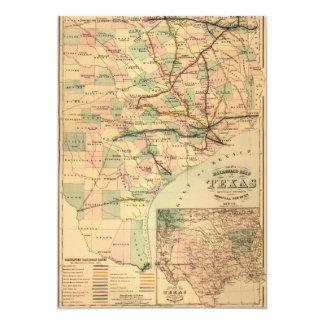 Mapa da estrada de ferro do cinza de Texas (1877) Convite 12.7 X 17.78cm