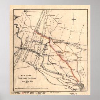 Mapa da guerra civil da campanha de Maryland Poster