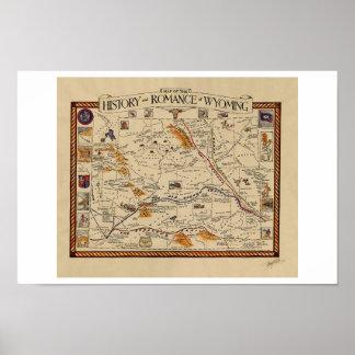Mapa da história e do romance de Wyoming Pôster