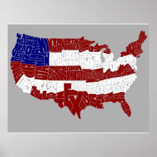 Mapa da tipografia da bandeira dos EUA Pôster