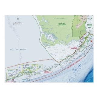 Mapa das chaves de Florida Cartões Postais