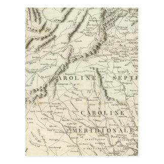 Mapa das províncias do sul dos Estados Unidos Cartão Postal