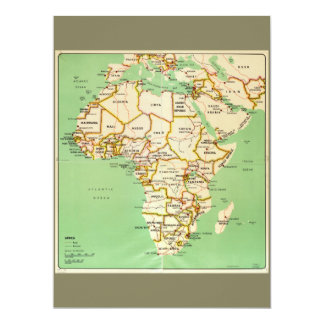 "Mapa de África (1966) Convite 16.51"" X 22.22cm"
