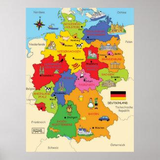 Mapa de Alemanha Pôster