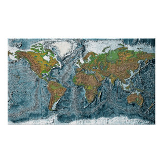 Mapa de alivio da terra pôster