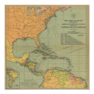 Mapa de América Central & de Arredores (1909) Convite Quadrado 13.35 X 13.35cm