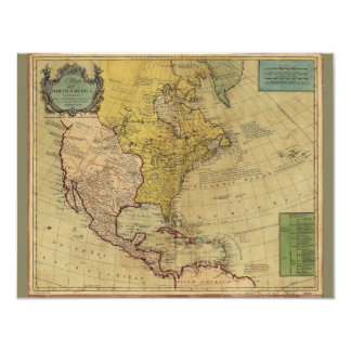 Mapa de America do Norte (1765) Convite 10.79 X 13.97cm
