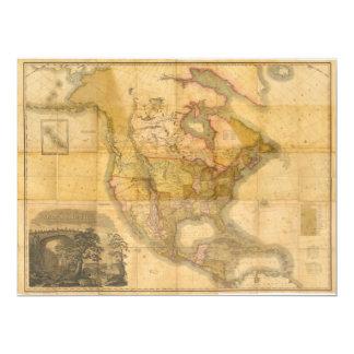 Mapa de America do Norte pelo curtidor 1822 de Convite 16.51 X 22.22cm