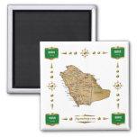 Mapa de Arábia Saudita + Ímã das bandeiras Imã