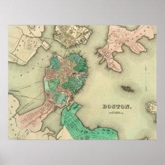 Mapa de Boston - 1838 Pôster