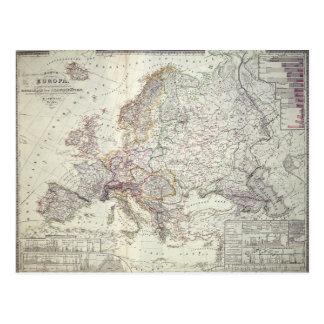 Mapa de Europa, 1841 Cartão Postal