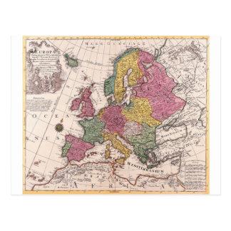 Mapa de Europa 3 Cartoes Postais