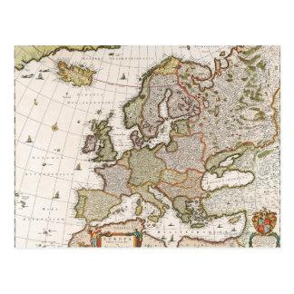 Mapa de Europa 4 Cartão Postal
