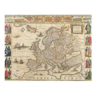 Mapa de Europa 6 Cartão Postal