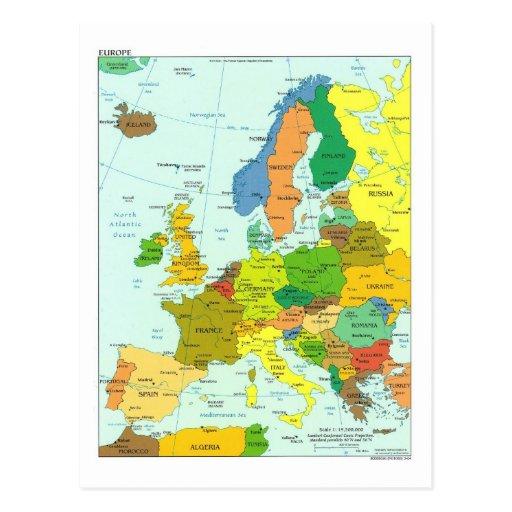 Mapa de Europa Cartao Postal