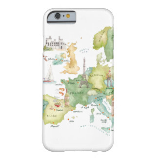 Mapa de Europa da aguarela - caso do iPhone 6 Capa iPhone 6 Barely There