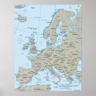 Mapa de Europa Pôster