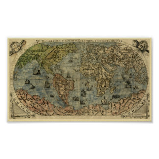 Mapa de Fernando Bertelli 1565 do mundo Pôster