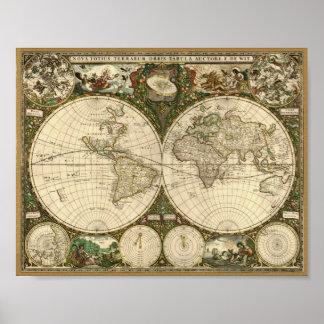 Mapa de Frederick de Sagacidade 1660 do mundo Pôster