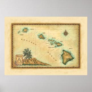 Mapa de Havaí, tamanhos 2 Pôster