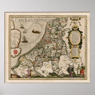 Mapa de Holland 1617 - Leo Belgicus Pôster