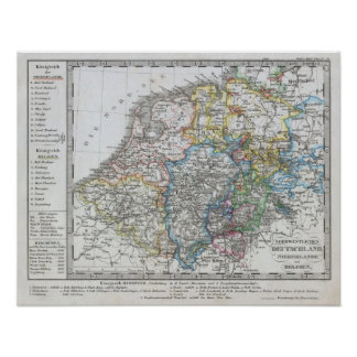 Mapa de Holland 1862 - por Justus Perthes Pôster