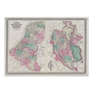 Mapa de Holland 1870 - por A.J. Johnson Pôster