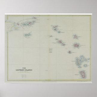 Mapa de ilhas de Leeward Poster