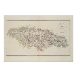 Mapa de Jamaica Pôster
