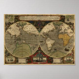 Mapa de Jodocus Hondius 1595 do mundo Pôster
