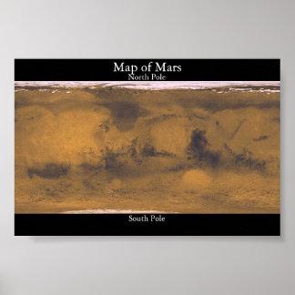 Mapa de Marte Pôster