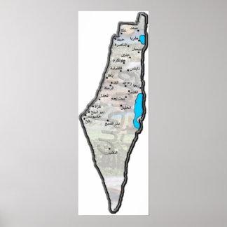Mapa de Palestina com rotulação árabe Pôster