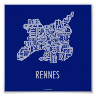 Mapa de Rennes France Pôster