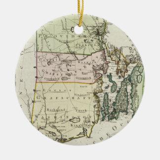 Mapa de Rhode - ilha do vintage (1797) Ornamento De Cerâmica Redondo