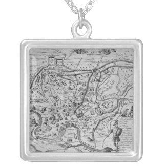 Mapa de Roma antiga Colar Com Pendente Quadrado