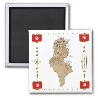Mapa de Tunísia + Ímã das bandeiras Ímã Quadrado