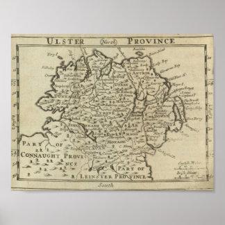 Mapa de Ulster Pôster