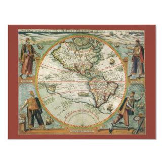 Mapa de Velho Mundo antigo dos Americas, 1597 Convite Personalizado
