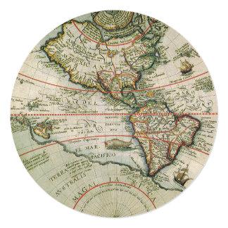 Mapa de Velho Mundo antigo dos Americas, 1597 Convite Quadrado 13.35 X 13.35cm