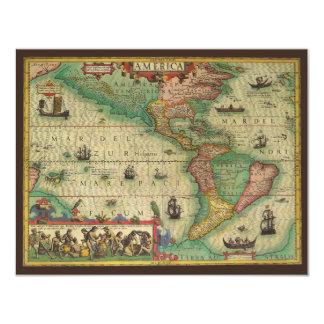 Mapa de Velho Mundo antigo dos Americas, 1606 Convites Personalizados