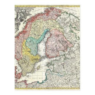 Mapa de Velho Mundo de Europa do Norte Cartões Postais