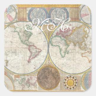 Mapa de Velho Mundo em hemisférios dobro, 1794 Adesivo Quadrado